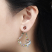 Alternate Image For Swallow Floral Drop Earring - Rhodium