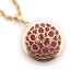 Alternate Image For Filigree Disc Pendant - Pink Cats Eye
